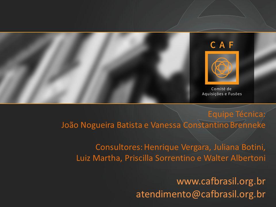 Equipe Técnica: João Nogueira Batista e Vanessa Constantino Brenneke Consultores: Henrique Vergara, Juliana Botini, Luiz Martha, Priscilla Sorrentino