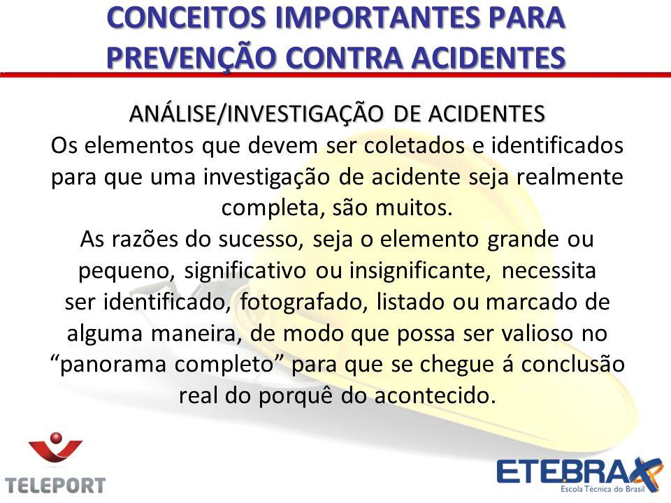 ANÁLISE/INVESTIGAÇÃO DE ACIDENTES Os elementos que devem ser coletados e identificados para que uma investigação de acidente seja realmente completa,