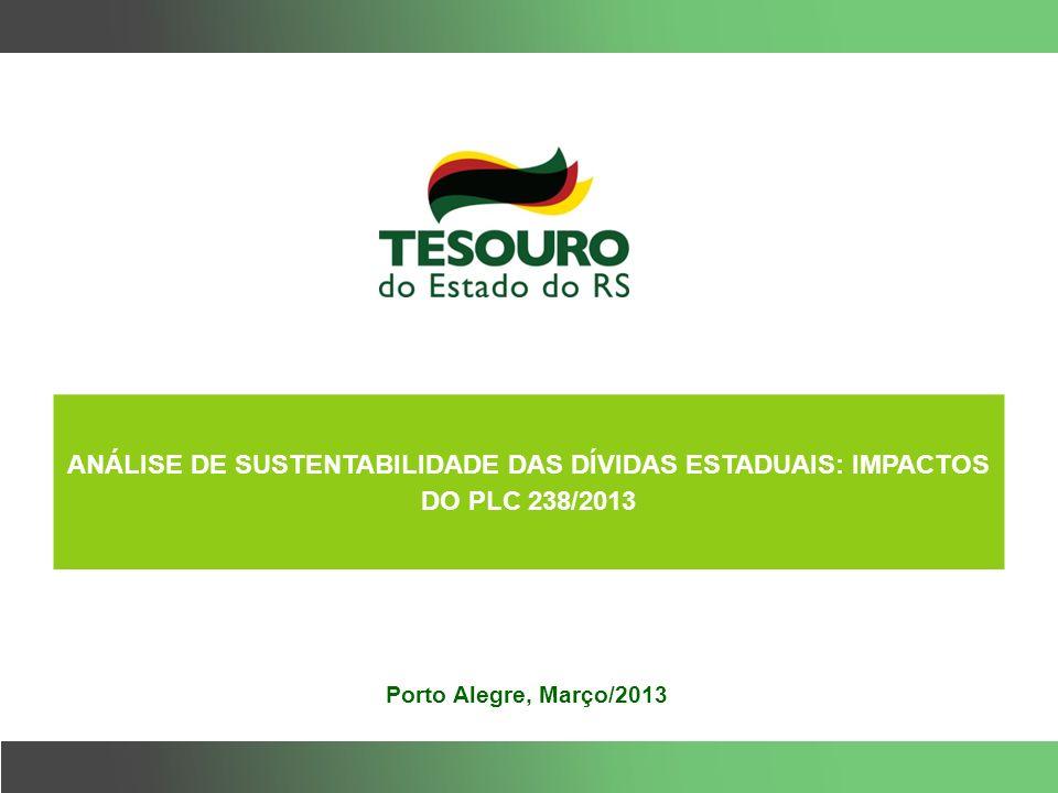 Porto Alegre, Março/2013 ANÁLISE DE SUSTENTABILIDADE DAS DÍVIDAS ESTADUAIS: IMPACTOS DO PLC 238/2013