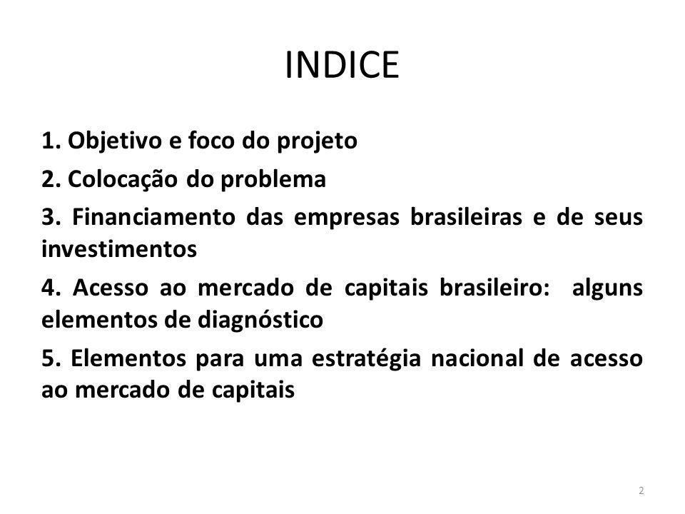 INDICE 1. Objetivo e foco do projeto 2. Colocação do problema 3. Financiamento das empresas brasileiras e de seus investimentos 4. Acesso ao mercado d