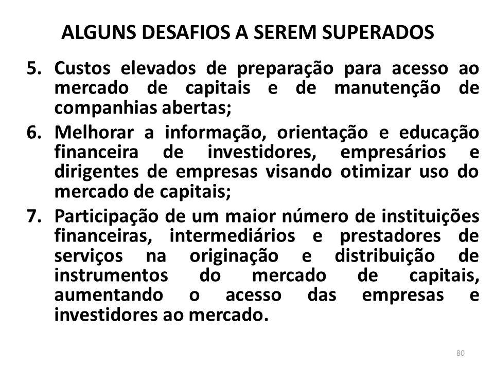 ALGUNS DESAFIOS A SEREM SUPERADOS 5.Custos elevados de preparação para acesso ao mercado de capitais e de manutenção de companhias abertas; 6.Melhorar