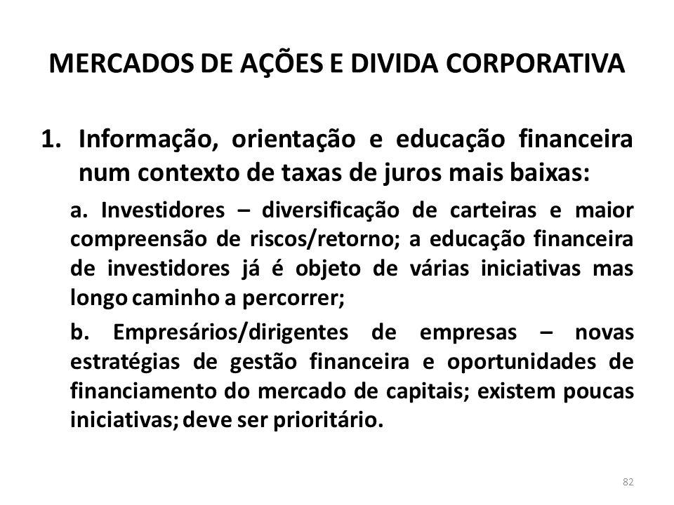 MERCADOS DE AÇÕES E DIVIDA CORPORATIVA 1.Informação, orientação e educação financeira num contexto de taxas de juros mais baixas: a.
