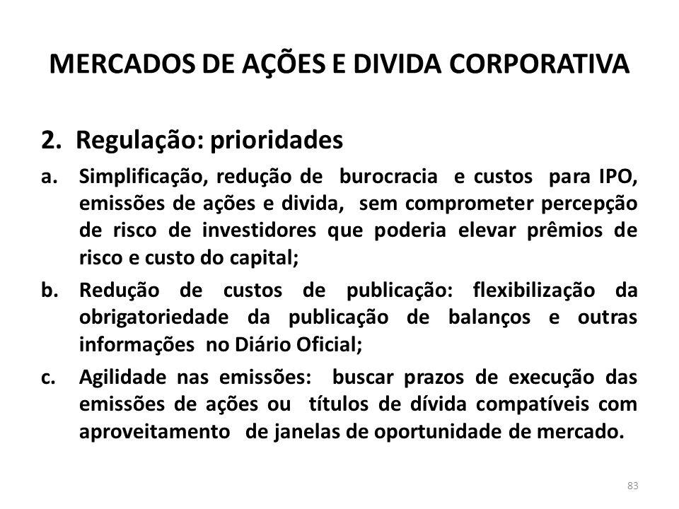 MERCADOS DE AÇÕES E DIVIDA CORPORATIVA 2. Regulação: prioridades a.Simplificação, redução de burocracia e custos para IPO, emissões de ações e divida,