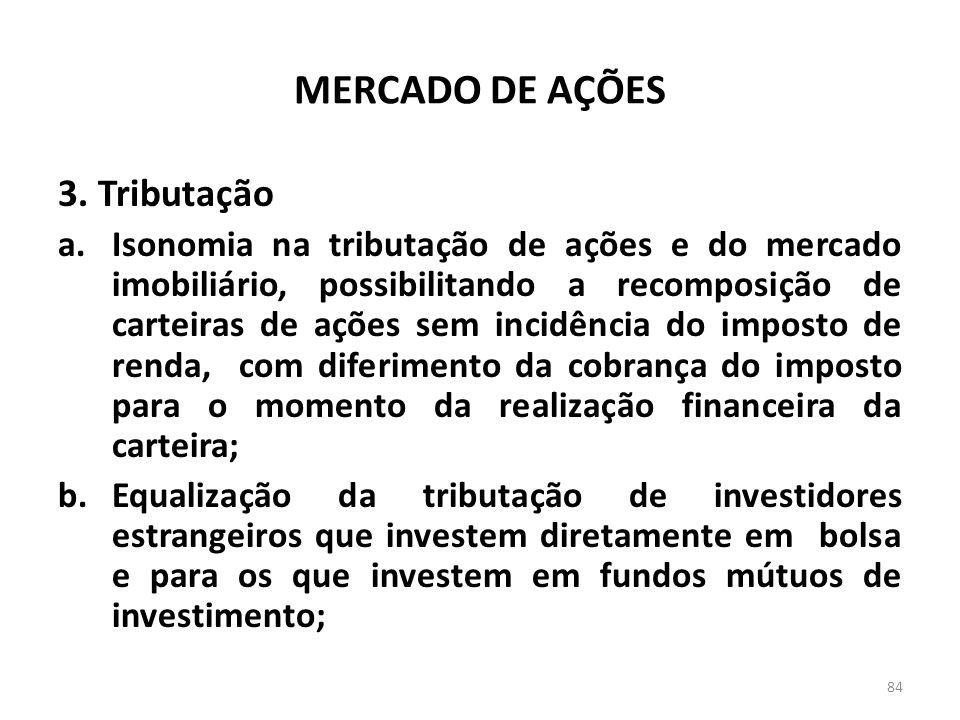 MERCADO DE AÇÕES 3. Tributação a.Isonomia na tributação de ações e do mercado imobiliário, possibilitando a recomposição de carteiras de ações sem inc