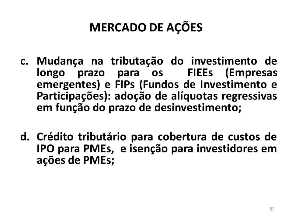 MERCADO DE AÇÕES c.Mudança na tributação do investimento de longo prazo para os FIEEs (Empresas emergentes) e FIPs (Fundos de Investimento e Participações): adoção de alíquotas regressivas em função do prazo de desinvestimento; d.Crédito tributário para cobertura de custos de IPO para PMEs, e isenção para investidores em ações de PMEs; 85