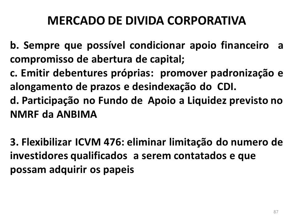 b. Sempre que possível condicionar apoio financeiro a compromisso de abertura de capital; c. Emitir debentures próprias: promover padronização e along