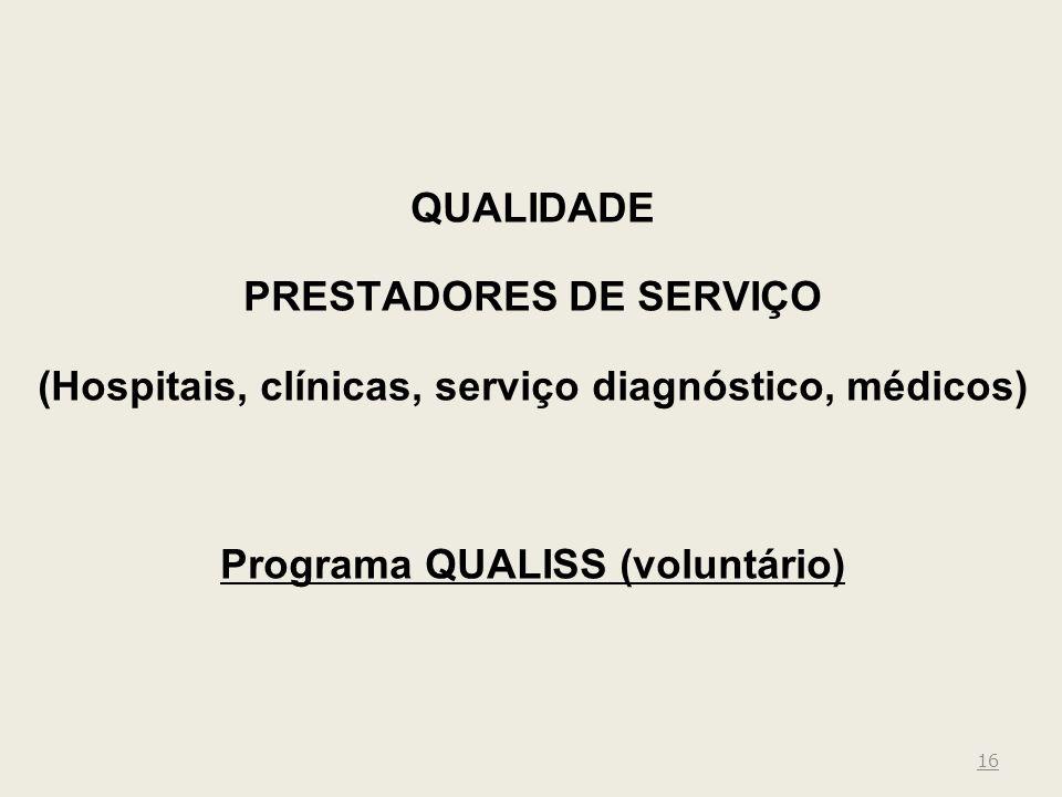 16 QUALIDADE PRESTADORES DE SERVIÇO (Hospitais, clínicas, serviço diagnóstico, médicos) Programa QUALISS (voluntário)