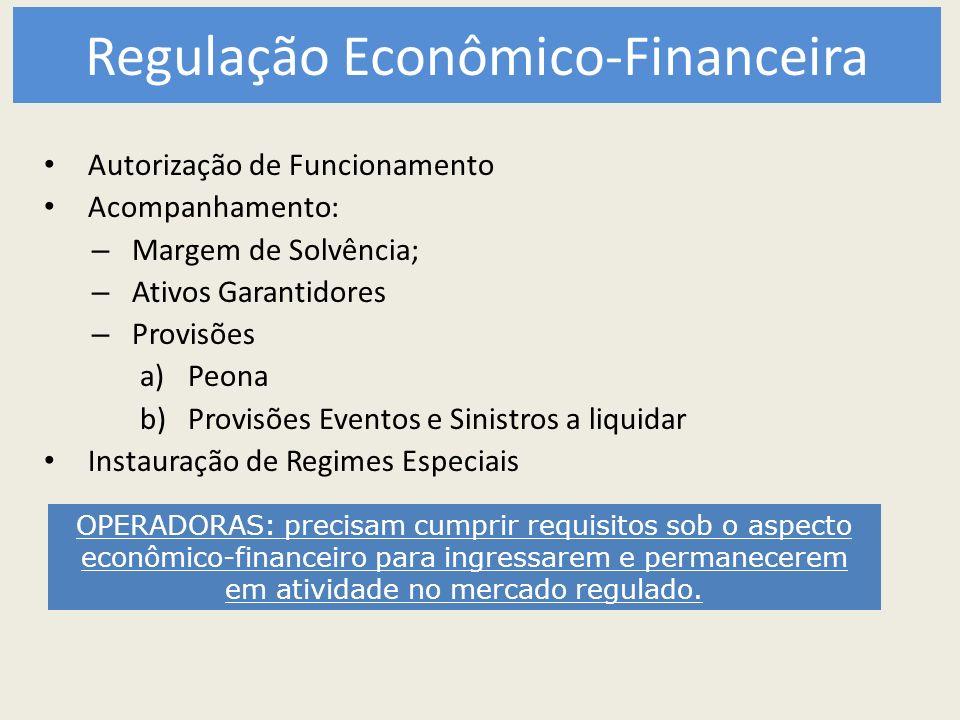 Regulação Econômico-Financeira Autorização de Funcionamento Acompanhamento: – Margem de Solvência; – Ativos Garantidores – Provisões a)Peona b)Provisõ