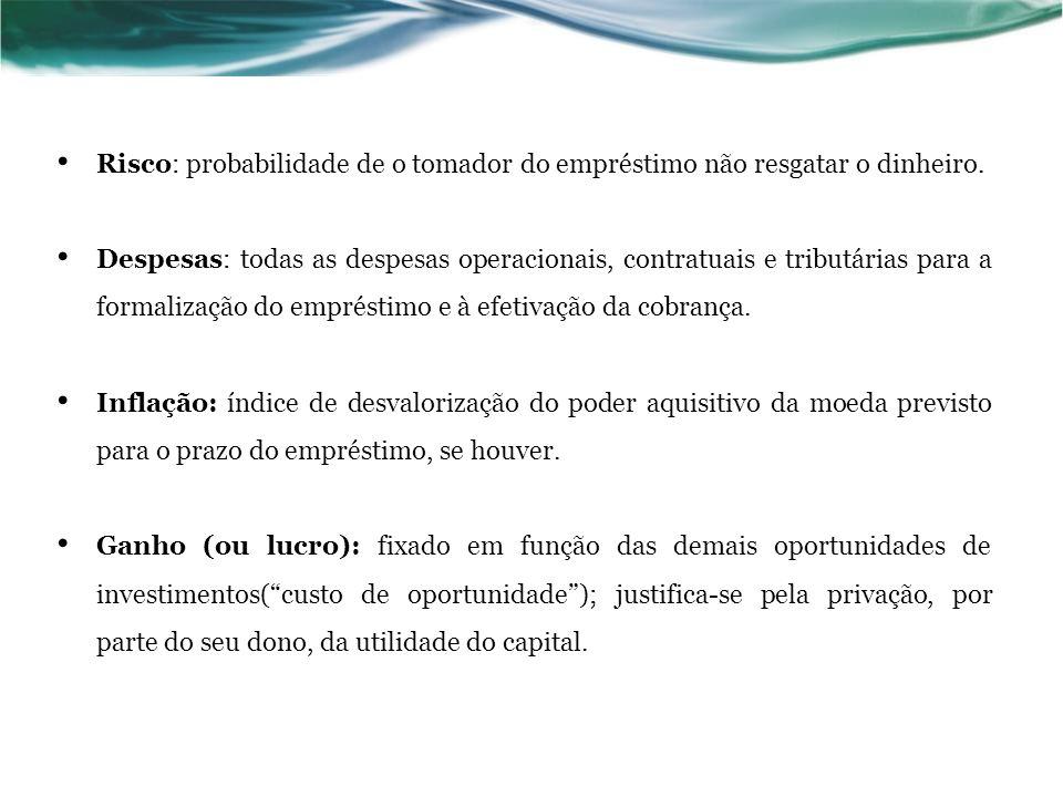 Juros - J É a remuneração do capital emprestado, podendo ser entendido, de forma simplificada, como sendo o aluguel pago pelo uso do dinheiro.