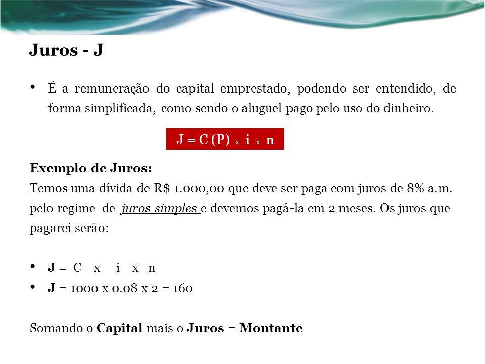 Exemplo 5 Qual foi o capital que, aplicado à taxa de juros simples de 2% ao mês, rendeu R$ 90,00 em um trimestre.