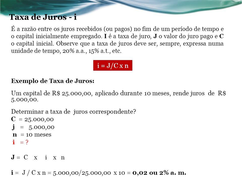 n = J /C x i Exemplo de Tempo: Em que prazo uma aplicação de R$ 35.000,00 pode gerar um montante de R$ 53.375,00, considerando-se uma taxa de 30% ao ano.