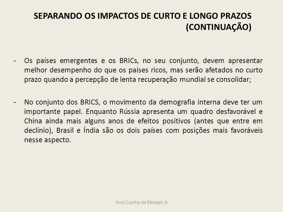 Aod Cunha de Moraes Jr -Os países emergentes e os BRICs, no seu conjunto, devem apresentar melhor desempenho do que os países ricos, mas serão afetado