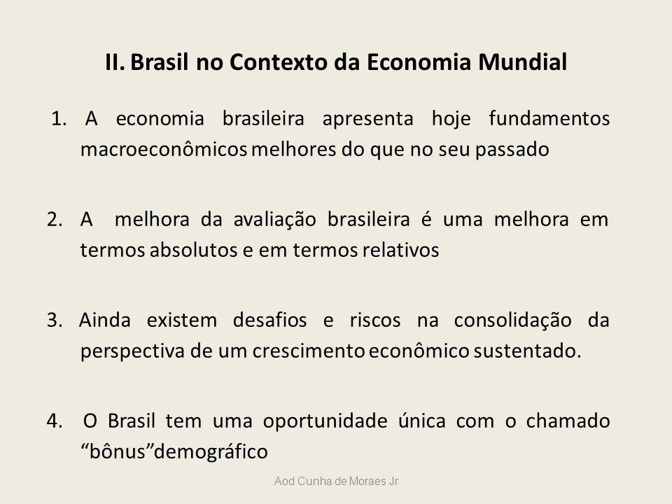 Aod Cunha de Moraes Jr II. Brasil no Contexto da Economia Mundial 1. A economia brasileira apresenta hoje fundamentos macroeconômicos melhores do que