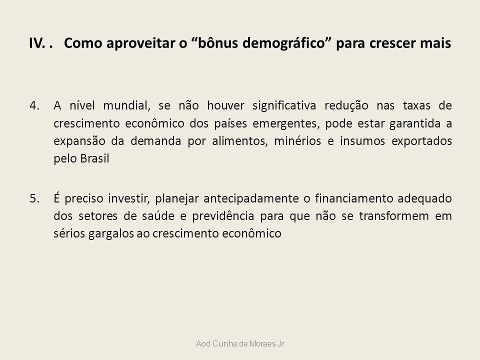 IV.. Como aproveitar o bônus demográfico para crescer mais 4.A nível mundial, se não houver significativa redução nas taxas de crescimento econômico d