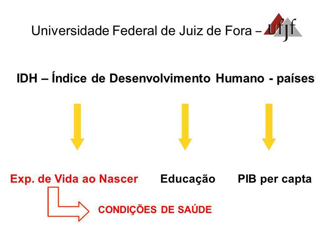 Universidade Federal de Juiz de Fora – IDH – Índice de Desenvolvimento Humano - países Exp. de Vida ao Nascer Educação PIB per capta CONDIÇÕES DE SAÚD