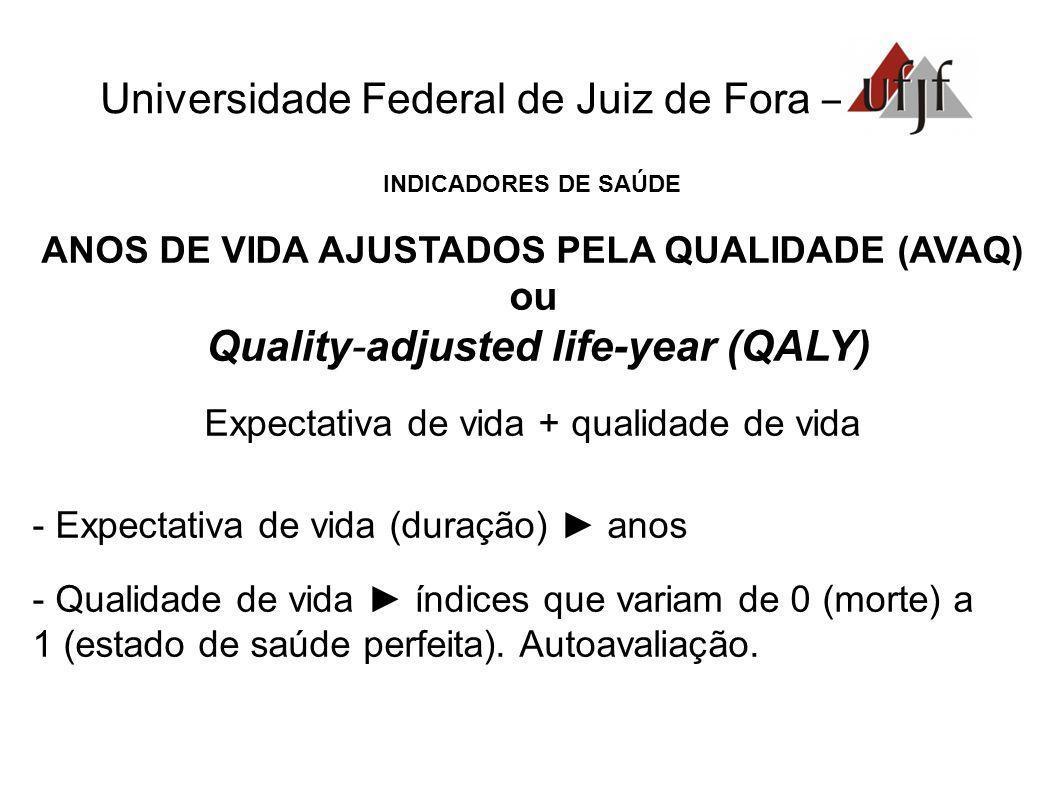 Universidade Federal de Juiz de Fora – INDICADORES DE SAÚDE ANOS DE VIDA AJUSTADOS PELA QUALIDADE (AVAQ) ou Quality-adjusted life-year (QALY) Expectat