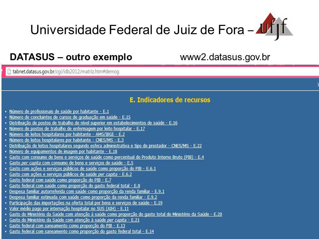 Universidade Federal de Juiz de Fora – DATASUS – outro exemplo www2.datasus.gov.br