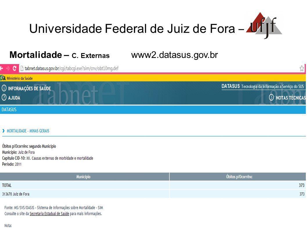 Universidade Federal de Juiz de Fora – Mortalidade – C. Externas www2.datasus.gov.br