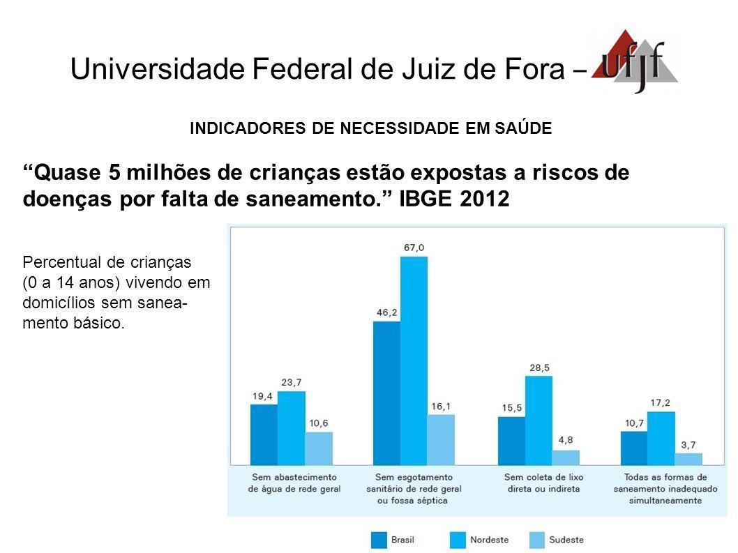Universidade Federal de Juiz de Fora – INDICADORES DE NECESSIDADE EM SAÚDE Quase 5 milhões de crianças estão expostas a riscos de doenças por falta de