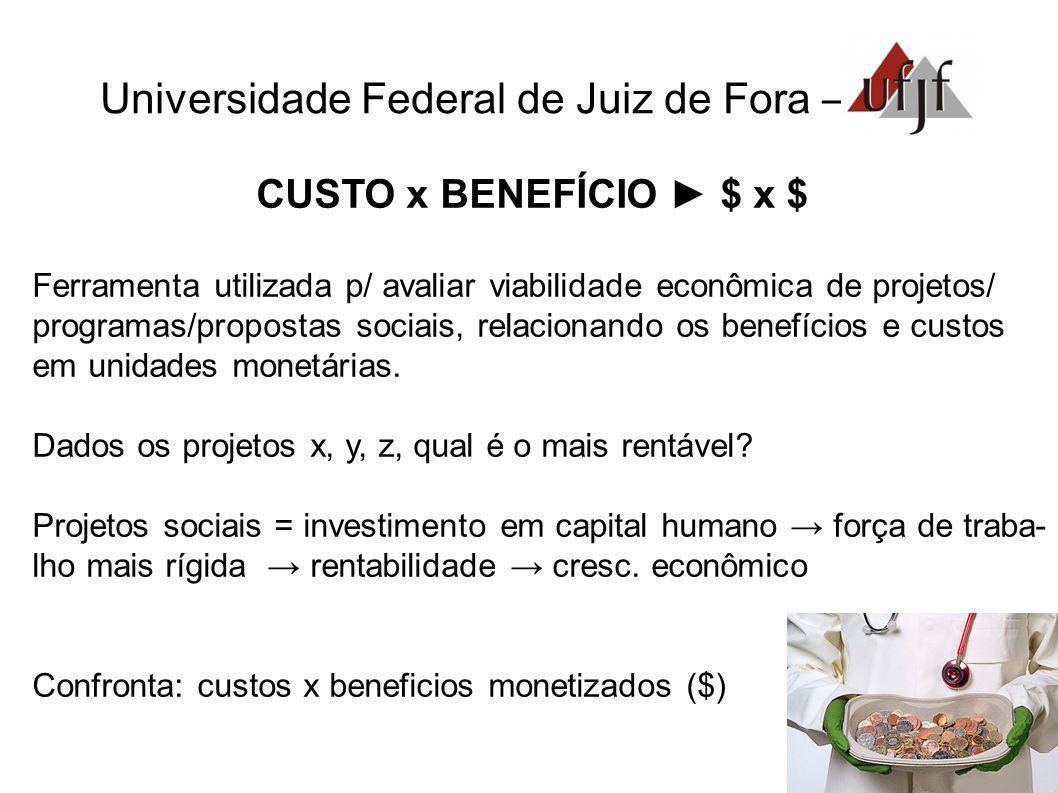 Universidade Federal de Juiz de Fora – CUSTO x BENEFÍCIO $ x $ Ferramenta utilizada p/ avaliar viabilidade econômica de projetos/ programas/propostas