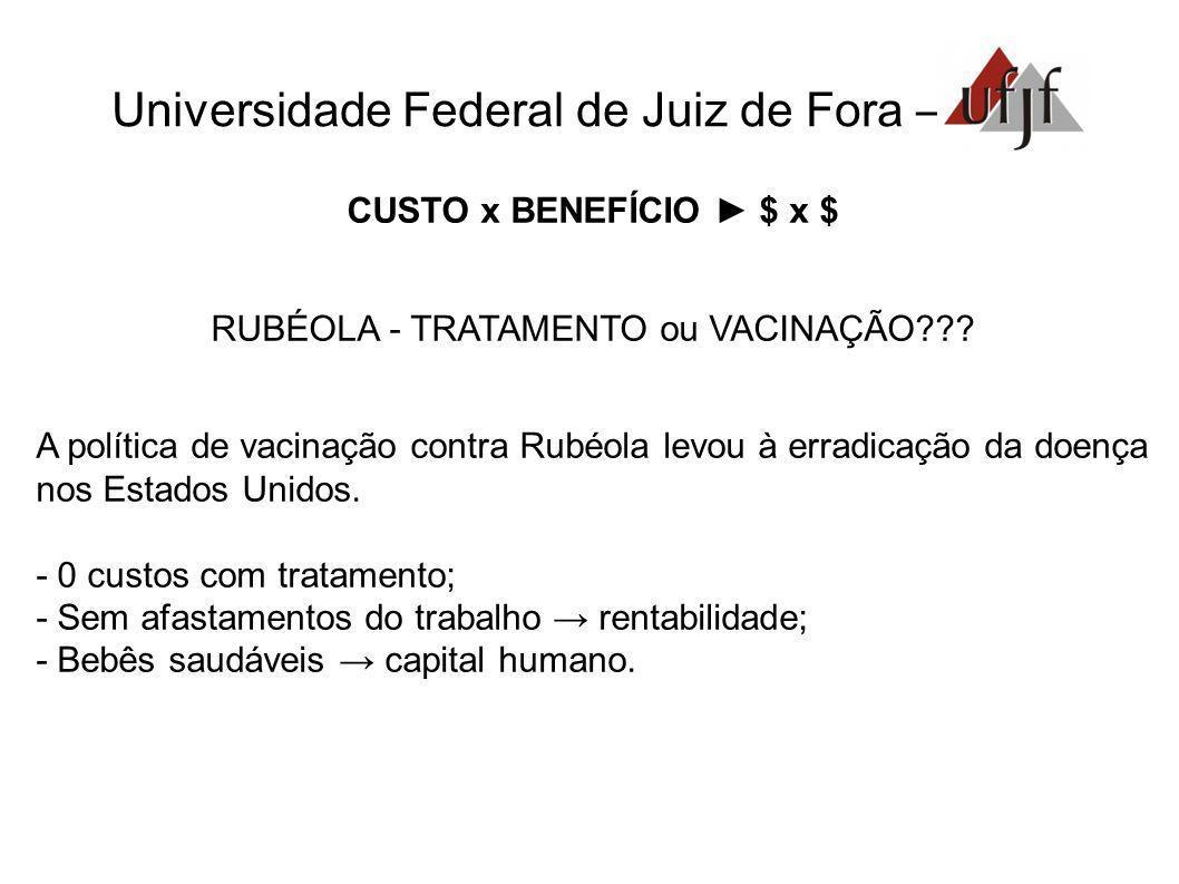 Universidade Federal de Juiz de Fora – CUSTO x BENEFÍCIO $ x $ RUBÉOLA - TRATAMENTO ou VACINAÇÃO??? A política de vacinação contra Rubéola levou à err