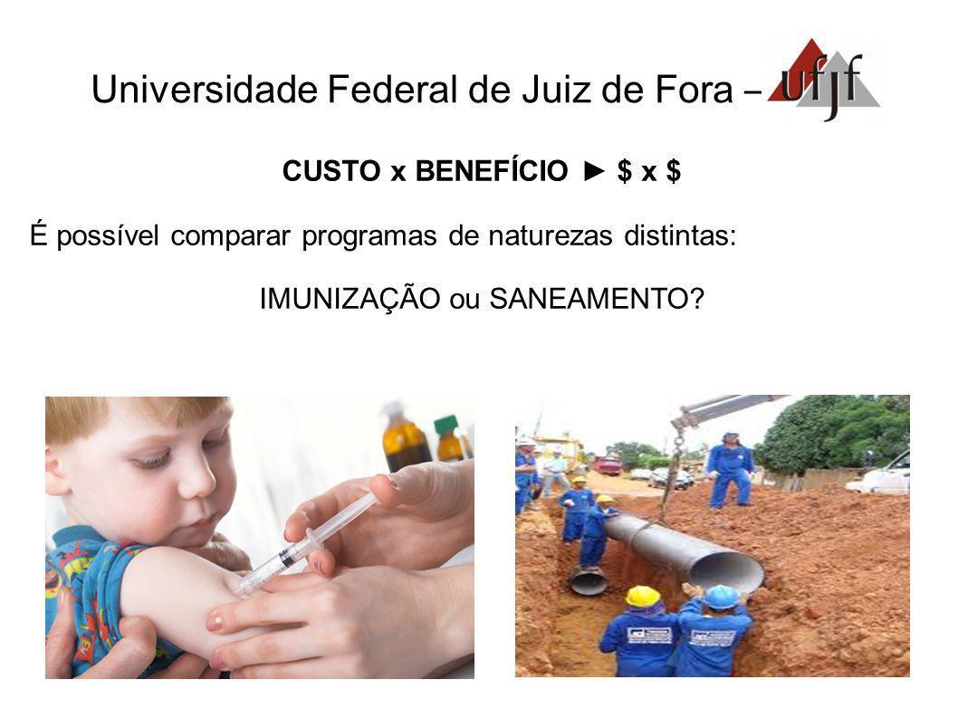 Universidade Federal de Juiz de Fora – CUSTO x BENEFÍCIO $ x $ É possível comparar programas de naturezas distintas: IMUNIZAÇÃO ou SANEAMENTO?.