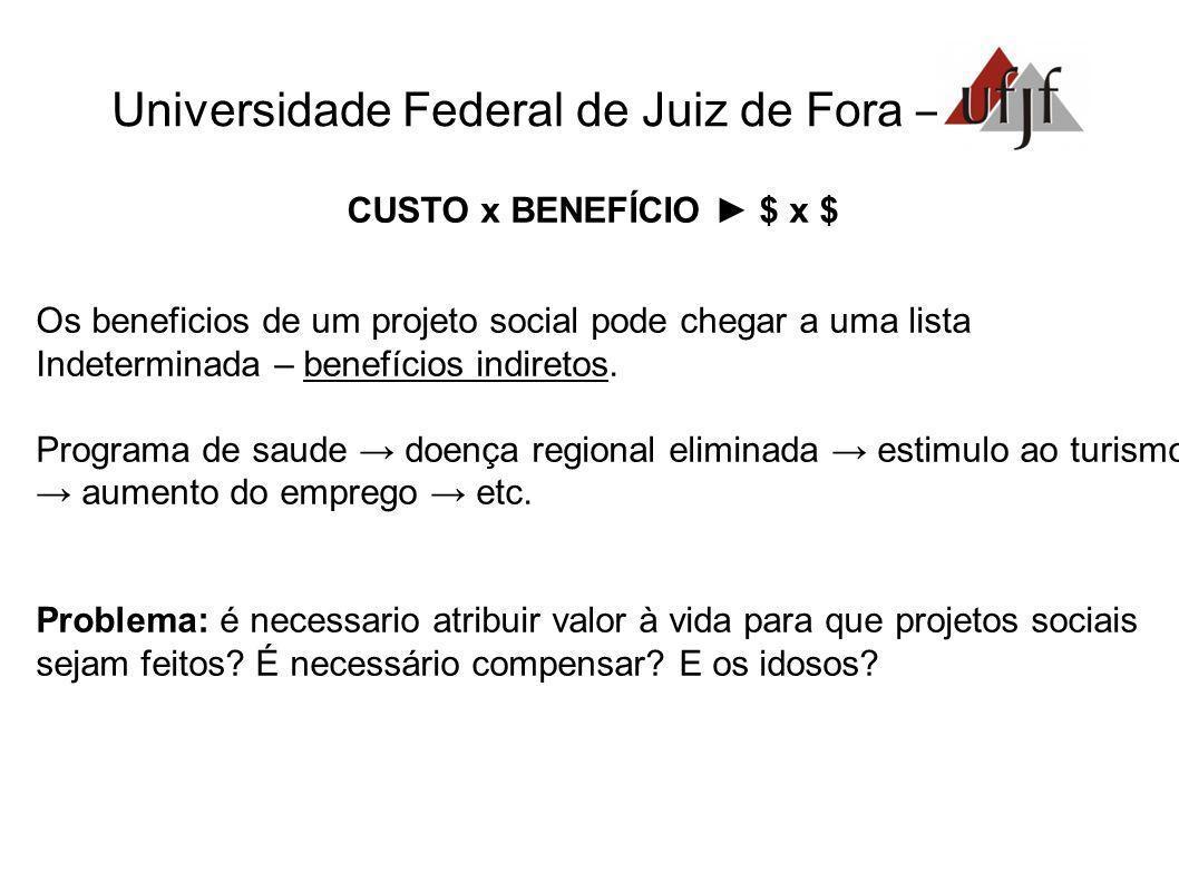 Universidade Federal de Juiz de Fora – CUSTO x BENEFÍCIO $ x $ Os beneficios de um projeto social pode chegar a uma lista Indeterminada – benefícios i