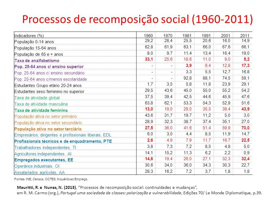 Processos de recomposição social (1960-2011) Indicadores (%)196019701981199120012011 População 0-14 anos 29,228,425,520,616,014,9 População 15-64 anos