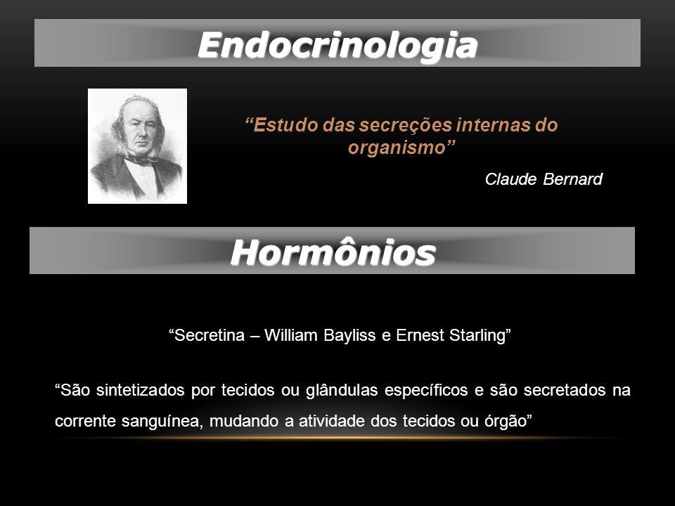 Endocrinologia Estudo das secreções internas do organismo Claude Bernard São sintetizados por tecidos ou glândulas específicos e são secretados na cor