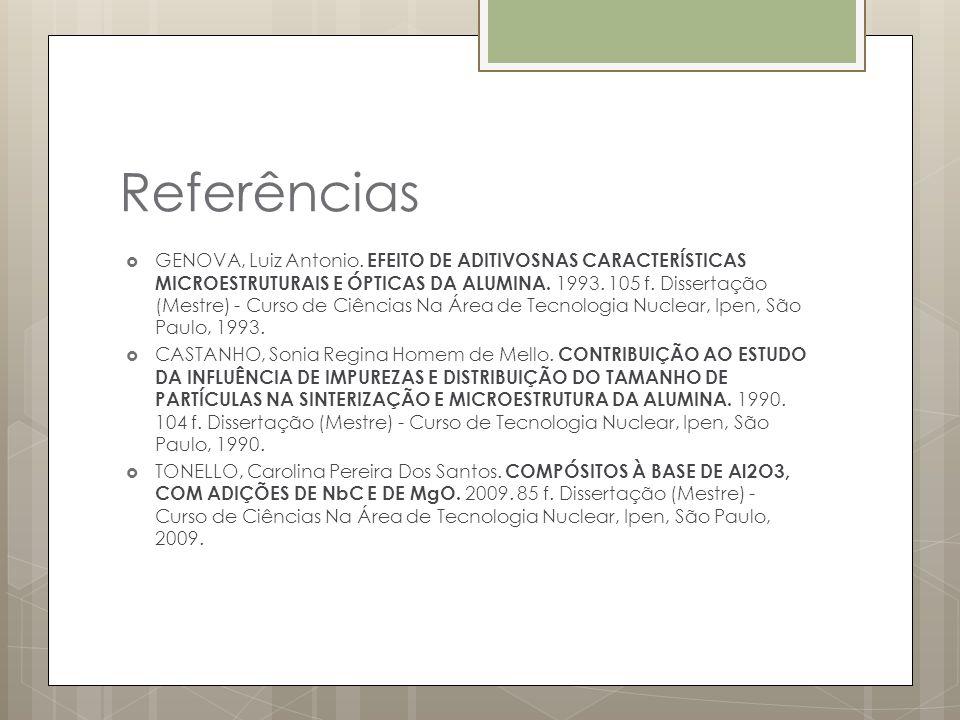 Referências GENOVA, Luiz Antonio. EFEITO DE ADITIVOSNAS CARACTERÍSTICAS MICROESTRUTURAIS E ÓPTICAS DA ALUMINA. 1993. 105 f. Dissertação (Mestre) - Cur