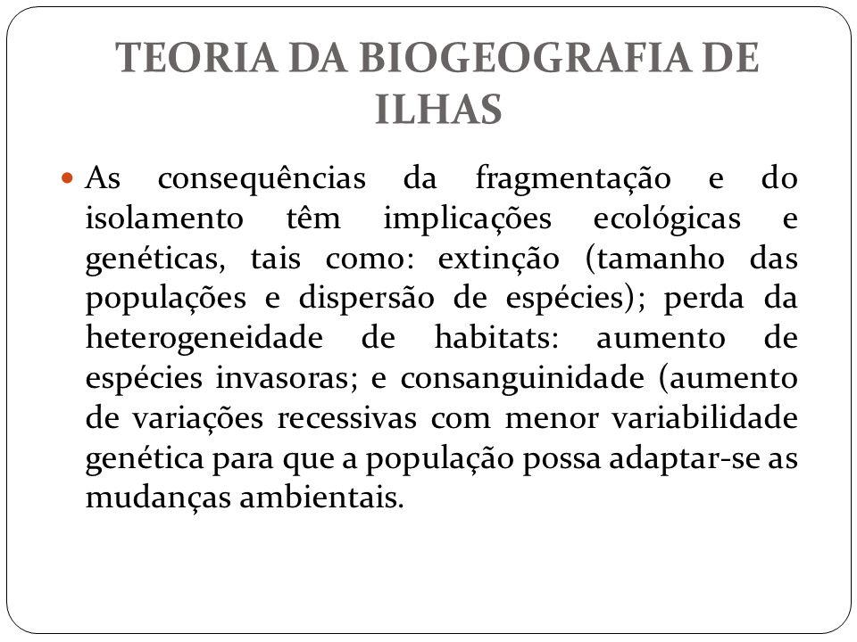 As consequências da fragmentação e do isolamento têm implicações ecológicas e genéticas, tais como: extinção (tamanho das populações e dispersão de es