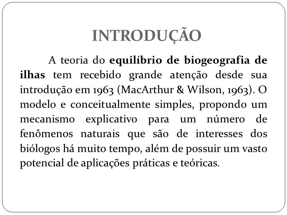 INTRODUÇÃO A teoria do equilíbrio de biogeografia de ilhas tem recebido grande atenção desde sua introdução em 1963 (MacArthur & Wilson, 1963). O mode