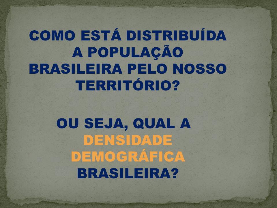 COMO ESTÁ DISTRIBUÍDA A POPULAÇÃO BRASILEIRA PELO NOSSO TERRITÓRIO? OU SEJA, QUAL A DENSIDADE DEMOGRÁFICA BRASILEIRA?
