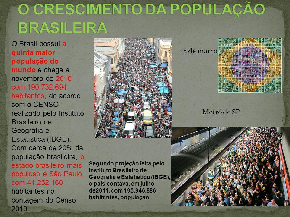 O Brasil possui a quinta maior população do mundo e chega a novembro de 2010 com 190.732.694 habitantes, de acordo com o CENSO realizado pelo Institut