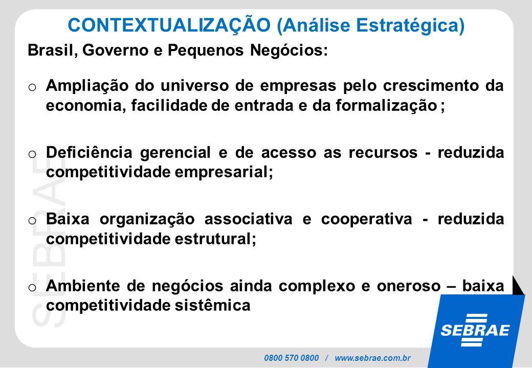 SEBRAE 0800 570 0800 / www.sebrae.com.br CONTEXTUALIZAÇÃO (Análise Estratégica) Brasil, Governo e Pequenos Negócios: o Ampliação do universo de empres