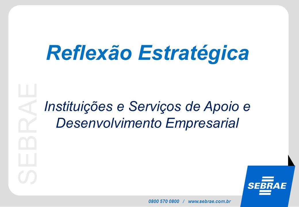 SEBRAE 0800 570 0800 / www.sebrae.com.br Reflexão Estratégica Instituições e Serviços de Apoio e Desenvolvimento Empresarial