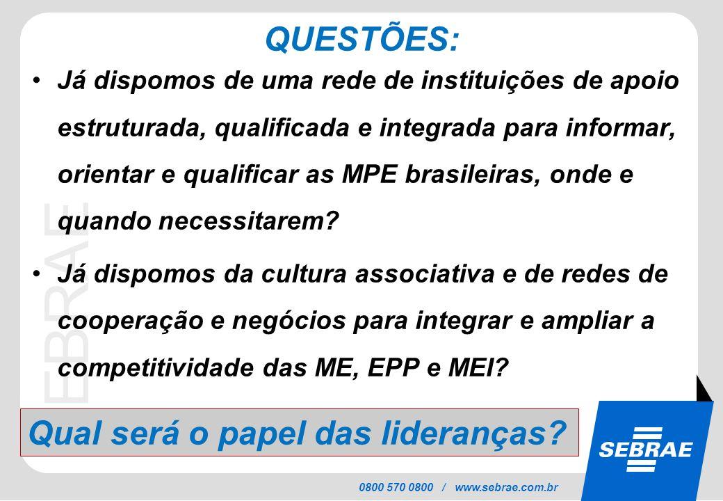 SEBRAE 0800 570 0800 / www.sebrae.com.br QUESTÕES: Já dispomos de uma rede de instituições de apoio estruturada, qualificada e integrada para informar