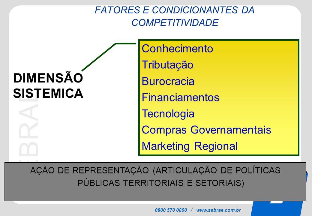 SEBRAE 0800 570 0800 / www.sebrae.com.br DIMENSÃO SISTEMICA Conhecimento Tributação Burocracia Financiamentos Tecnologia Compras Governamentais Market