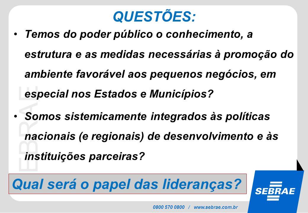 SEBRAE 0800 570 0800 / www.sebrae.com.br QUESTÕES: Temos do poder público o conhecimento, a estrutura e as medidas necessárias à promoção do ambiente