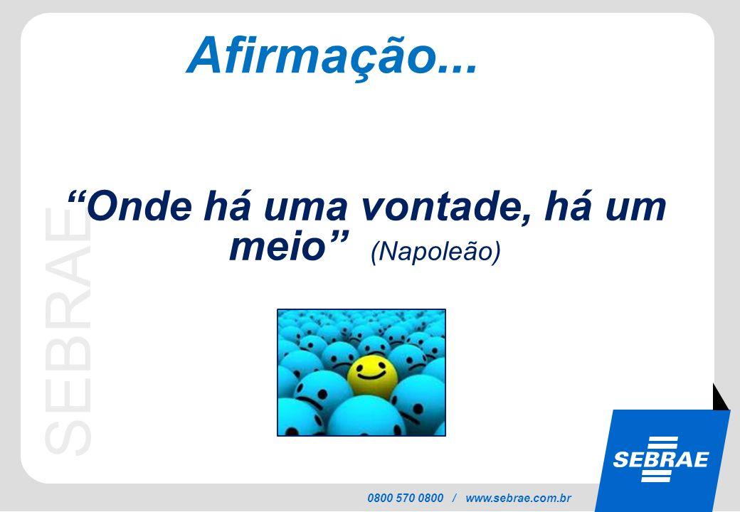 SEBRAE 0800 570 0800 / www.sebrae.com.br Afirmação... Onde há uma vontade, há um meio (Napoleão)