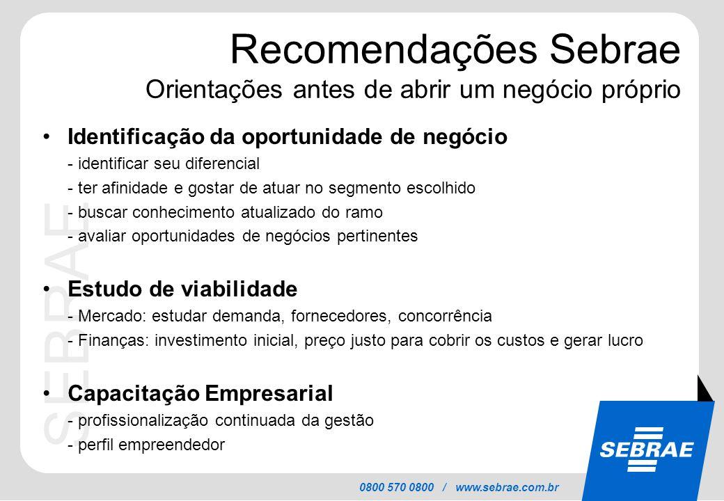 SEBRAE 0800 570 0800 / www.sebrae.com.br Recomendações Sebrae Orientações antes de abrir um negócio próprio Identificação da oportunidade de negócio -