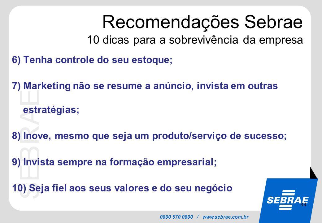 SEBRAE 0800 570 0800 / www.sebrae.com.br Recomendações Sebrae 10 dicas para a sobrevivência da empresa 6) Tenha controle do seu estoque; 7) Marketing