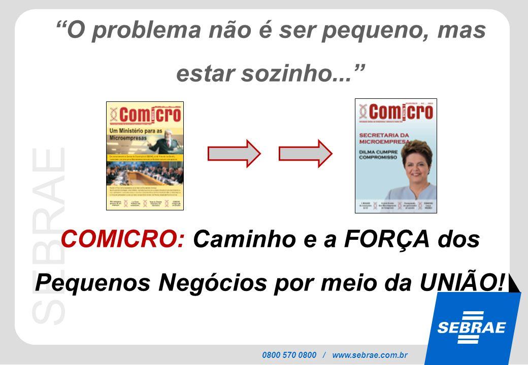 SEBRAE 0800 570 0800 / www.sebrae.com.br O problema não é ser pequeno, mas estar sozinho... COMICRO: Caminho e a FORÇA dos Pequenos Negócios por meio