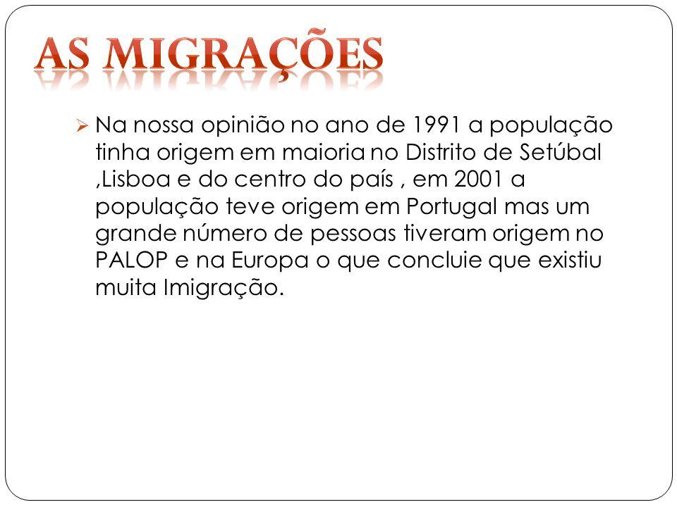 Na nossa opinião no ano de 1991 a população tinha origem em maioria no Distrito de Setúbal,Lisboa e do centro do país, em 2001 a população teve origem em Portugal mas um grande número de pessoas tiveram origem no PALOP e na Europa o que concluie que existiu muita Imigração.