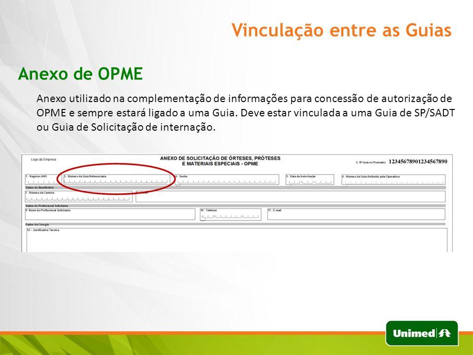 Vinculação entre as Guias Anexo de OPME Anexo utilizado na complementação de informações para concessão de autorização de OPME e sempre estará ligado