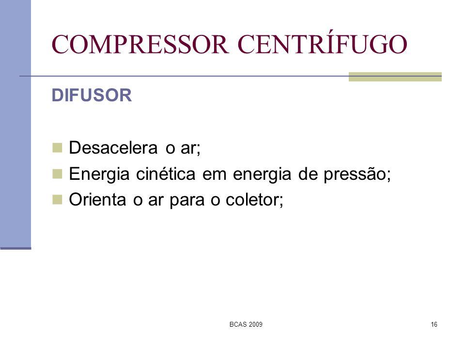BCAS 200916 COMPRESSOR CENTRÍFUGO DIFUSOR Desacelera o ar; Energia cinética em energia de pressão; Orienta o ar para o coletor;