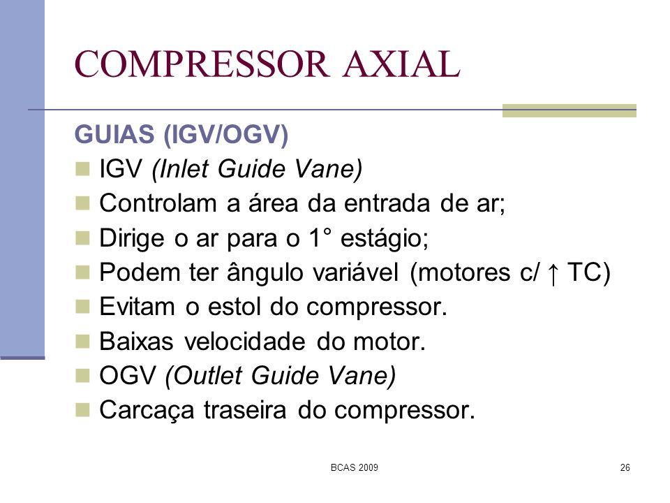 BCAS 200926 COMPRESSOR AXIAL GUIAS (IGV/OGV) IGV (Inlet Guide Vane) Controlam a área da entrada de ar; Dirige o ar para o 1° estágio; Podem ter ângulo