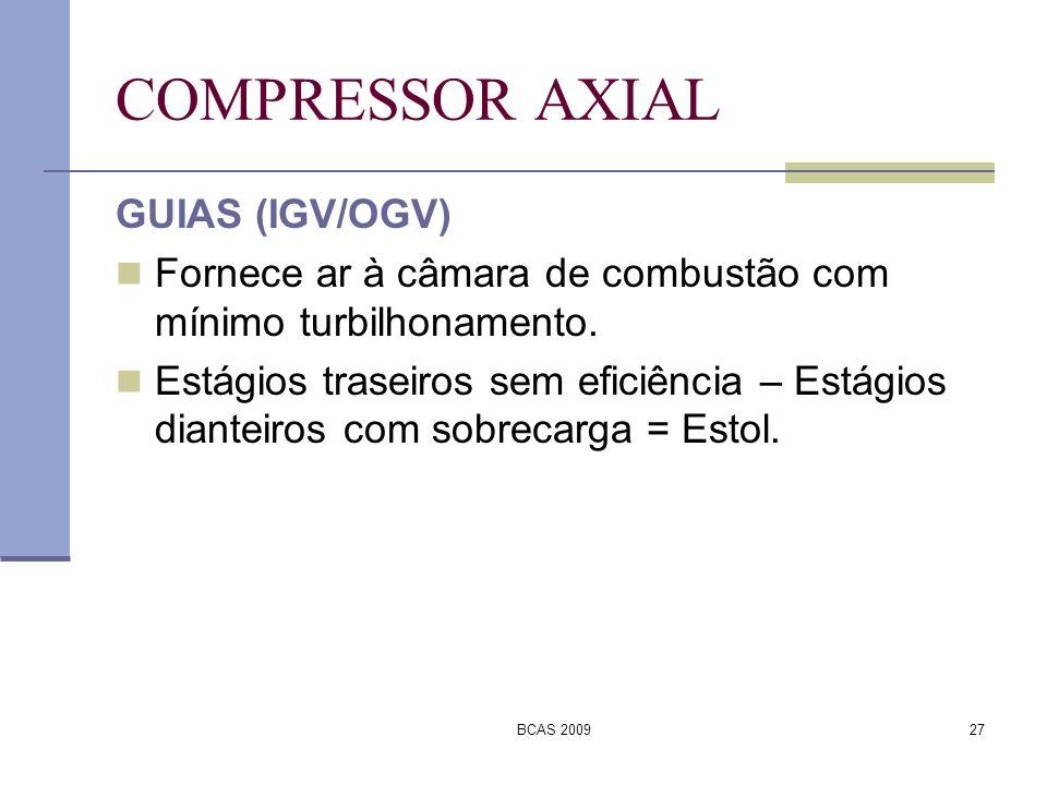BCAS 200927 COMPRESSOR AXIAL GUIAS (IGV/OGV) Fornece ar à câmara de combustão com mínimo turbilhonamento. Estágios traseiros sem eficiência – Estágios