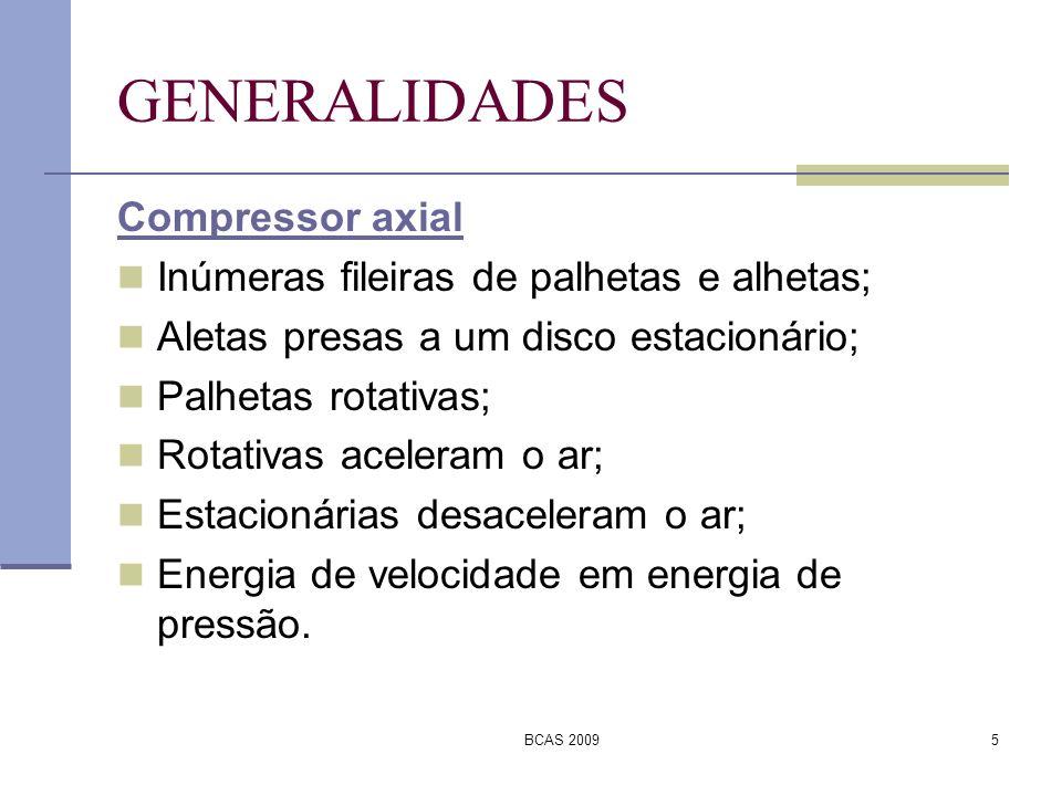 BCAS 20095 GENERALIDADES Compressor axial Inúmeras fileiras de palhetas e alhetas; Aletas presas a um disco estacionário; Palhetas rotativas; Rotativa