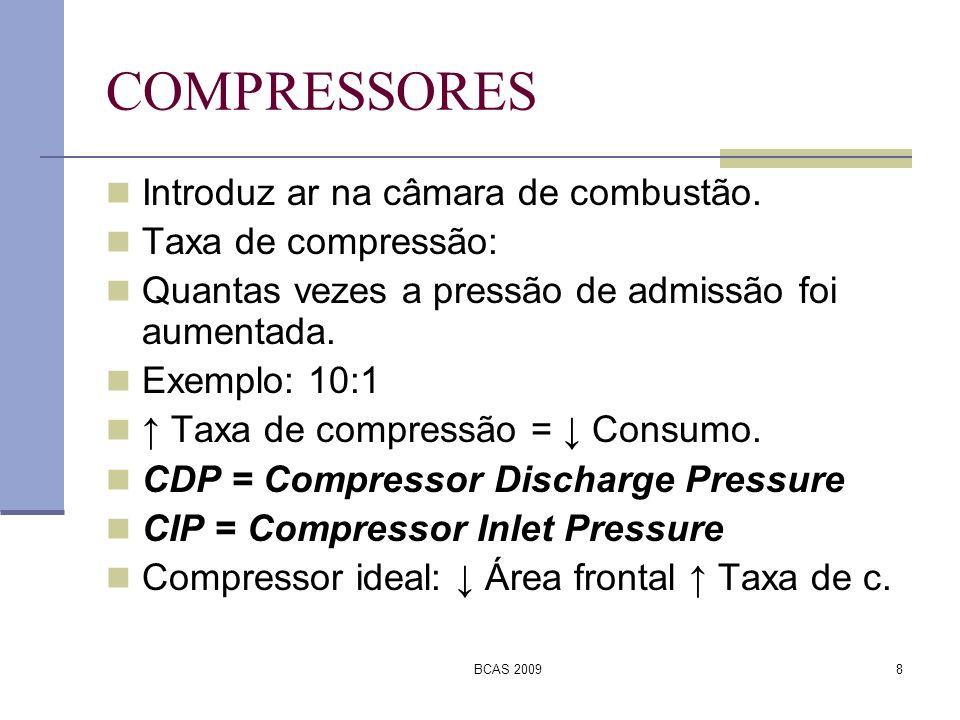 BCAS 20098 COMPRESSORES Introduz ar na câmara de combustão. Taxa de compressão: Quantas vezes a pressão de admissão foi aumentada. Exemplo: 10:1 Taxa